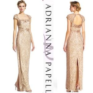Adrianna Papell champagne/gold gown